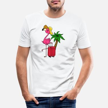 Surfing Travel vacation vacation flamingo palm trees Caribbean - Men's Slim Fit T-Shirt