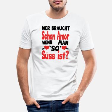 Heiraten Herz Valentinstag Statement - Männer Slim Fit T-Shirt