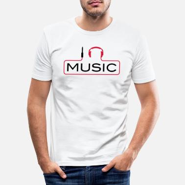 Techno I love music J´aime Music Plug casque le son Bass - T-shirt moulant Homme