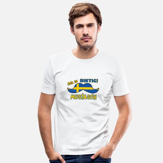 Sweden T-Shirts - Mustache - Men's Slim Fit T-Shirt white