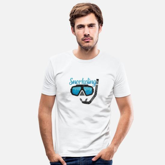 Swim T-Shirts - Snorkeling Diving Mask Diving Under Water - Men's Slim Fit T-Shirt white