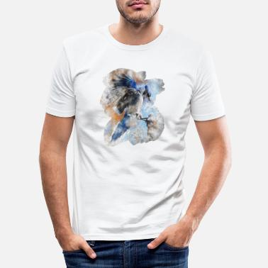 Illustration Aquarell vogel Blauhaeher, blue jay, Tierwelt - Männer Slim Fit T-Shirt