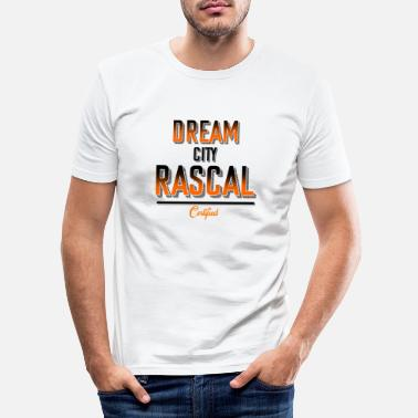 Rascal Dream City love Rascals Raccoon badass & naughty - Männer Slim Fit T-Shirt