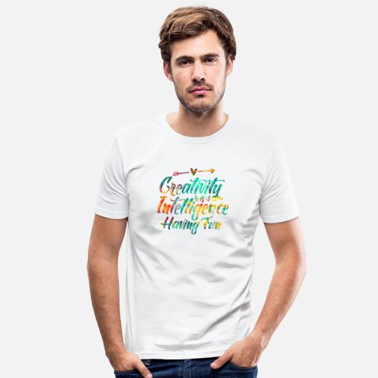 Handmade T-Shirts - Creative Colorful Creativity Intelligence Artist - Men's Slim Fit T-Shirt white