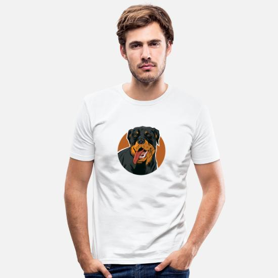Amour Des Animaux T-shirts - Rottweiler Hund Dog Tierliebe Je vis mon chien - T-shirt moulant Homme blanc