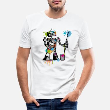 Paint Brush A robot with a brush - Men's Slim Fit T-Shirt
