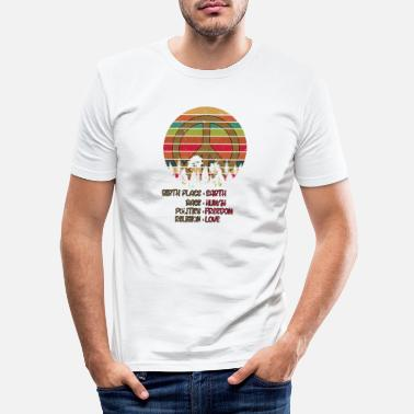 Human Birthplace Earth Race Human Peace Sign Hippie - Men's Slim Fit T-Shirt
