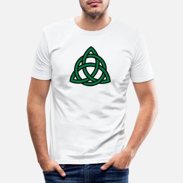 Religion Tattoo Tribal Celtic Knot Triquetra Patricks Day Triangle Circle - Slim fit T-shirt mænd