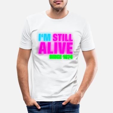 1974 NEON - Birthday - still alive since 1974 (sv) - T-shirt slim fit herr