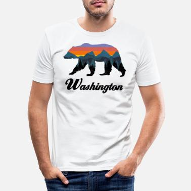 Outdoor Washington Bear Montagnes Colorées Fier Camping Vintage - T-shirt moulant Homme