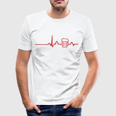 EKG Heart Beer LINE rød - Slim Fit T-skjorte for menn