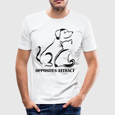 dog-cat-opposites-attract - Männer Slim Fit T-Shirt