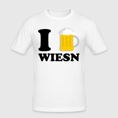 I Love Wiesn Bier - Männer Slim Fit T-Shirt
