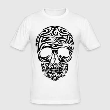 Tribal Tattoo Skull Black - Men's Slim Fit T-Shirt