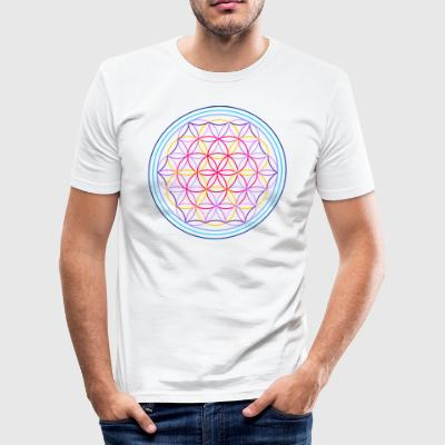 Flower of Life rood-blauw - slim fit T-shirt