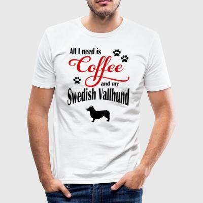 Swedish Vallhund Coffee - Men's Slim Fit T-Shirt