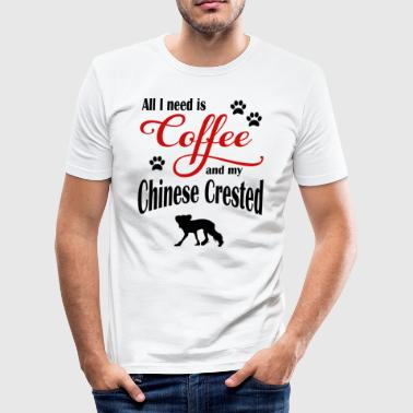 Chinese Crested Coffee - Men's Slim Fit T-Shirt