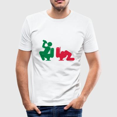 alcohol drinken stront i gebraakt wc wc - slim fit T-shirt