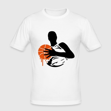 A basketball player with a basketball  - Men's Slim Fit T-Shirt