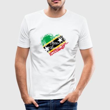 HOME ROOTS COUNTRY GIFT LOVE Saint Kitts and Nevis - Men's Slim Fit T-Shirt