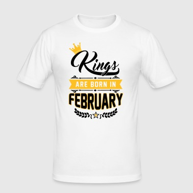 Kings are born in February - Geburtstag - Löwe - T-shirt près du corps Homme