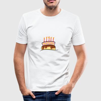 bursdagskake - Slim Fit T-skjorte for menn