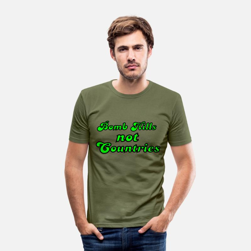 Downhill T-Shirts - Bomb Hills not Countries - Men's Slim Fit T-Shirt khaki green