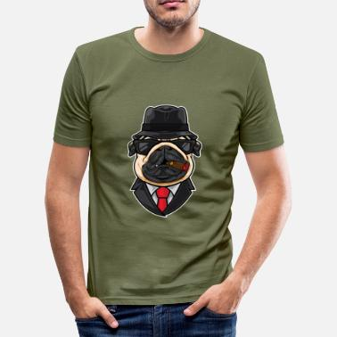 Airbrushcartoon Mafiahund - Slim Fit T-skjorte for menn