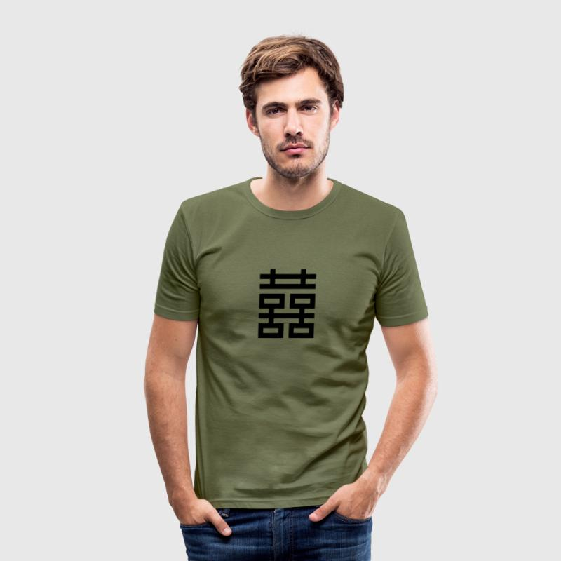 Dubbel geluk, Chinese luck charm, amulet, liefde - slim fit T-shirt
