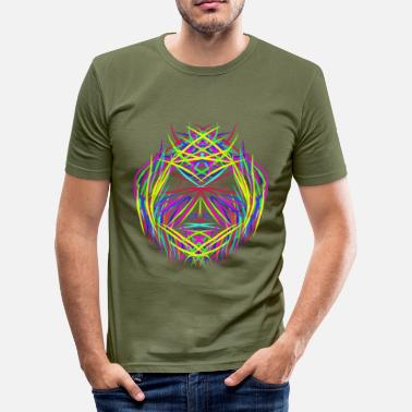 Trippy Psychedelic face trippy abstract psychedelic colorful - Men's Slim Fit T-Shirt