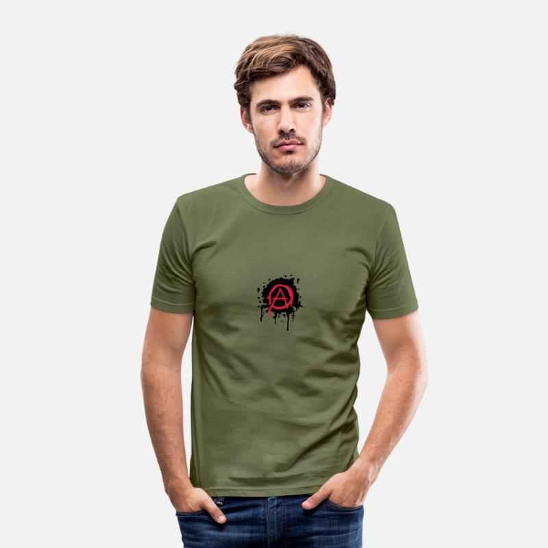 Anarchie T-shirts - anarchie - T-shirt moulant Homme vert kaki