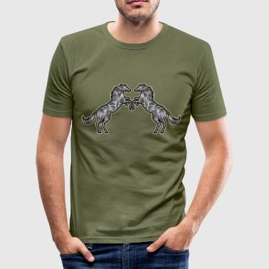 Rear Rearing horses - Men's Slim Fit T-Shirt