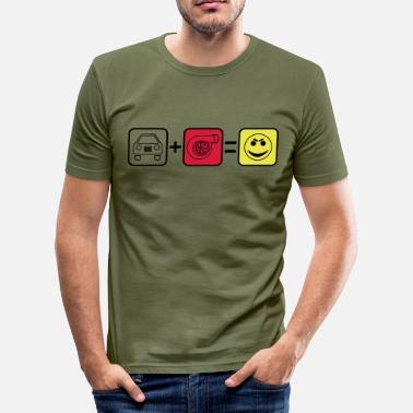 Auto+Turbo=Smile - Männer Slim Fit T-Shirt