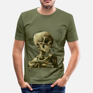 Van Gogh Vincent van Gogh skeleton skull with cigarette - Men's Slim Fit T-Shirt