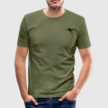 Arachnophobia spider, spiders, web, spider web, gothic, emo, goth, arachnophobia, creepy, horror, halloween, zombie, witch, - Men's Slim Fit T-Shirt