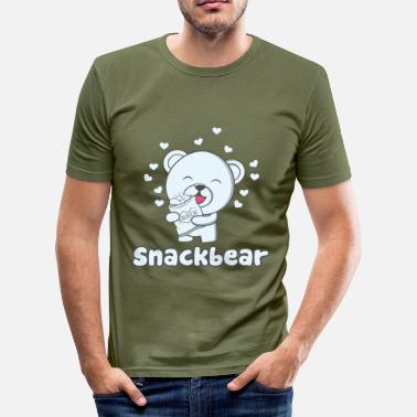 Snack Snack bear / snack bear with heart - Men's Slim Fit T-Shirt