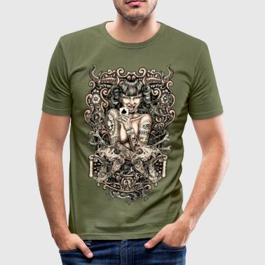 Tattoo Evil Tattoo Girl - Männer Slim Fit T-Shirt