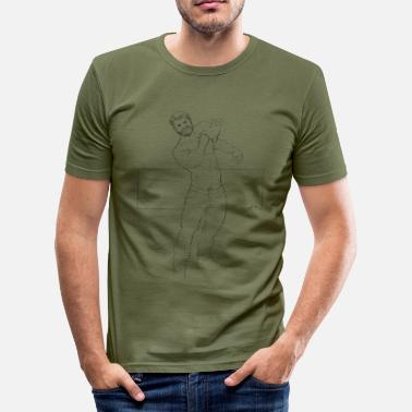 man with cat - Men's Slim Fit T-Shirt