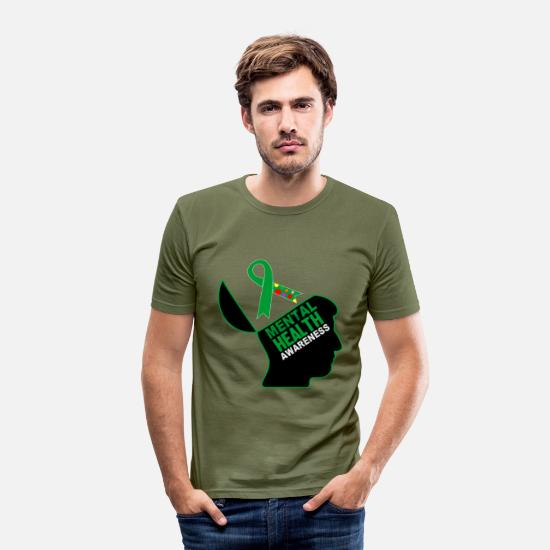 Mental T-Shirts - Be aware that mental health is important - Men's Slim Fit T-Shirt khaki green
