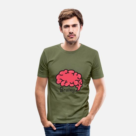 Best In Class T-Shirts - Brainy - Men's Slim Fit T-Shirt khaki green