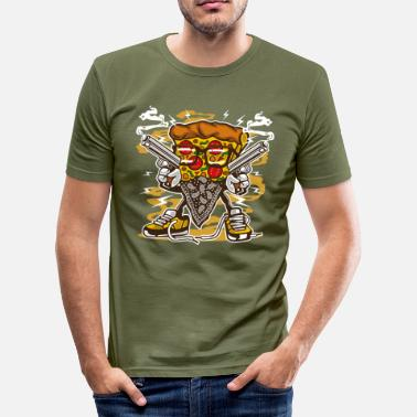 Gangster Cartoon Pizza gangster - Men's Slim Fit T-Shirt