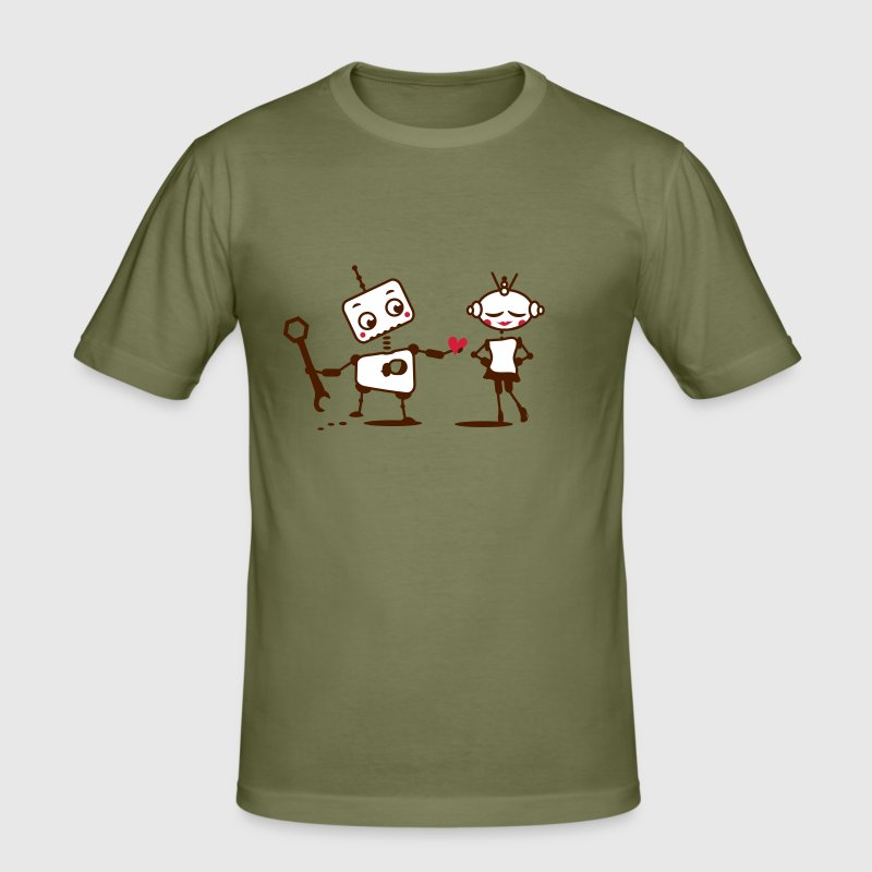 The robot gives away his heart - Men's Slim Fit T-Shirt