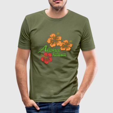 Aloha kaua - hHibiscusblüten colored - Männer Slim Fit T-Shirt