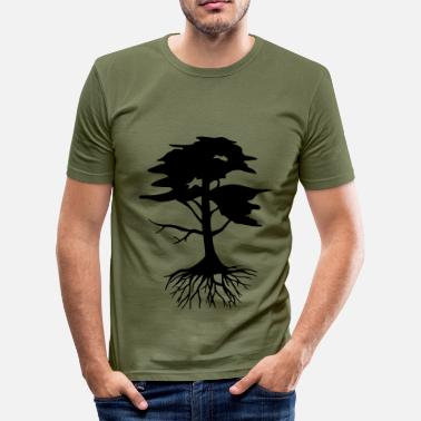 Root Tree with roots - Men's Slim Fit T-Shirt