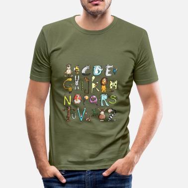 de colores Alfabeto - Animal - Animales - Camiseta ajustada hombre a84791aabe7dc