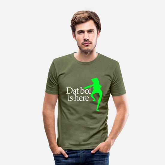 Meme T-shirts - Dat boi shirt white writing - men - T-shirt moulant Homme vert kaki