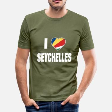 Indian Ocean I Love Seychelles Indian Ocean Flag Tee Shirt Gift - Men's Slim Fit T-Shirt