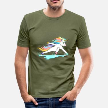 Inclination Fast skating unicorn in inclined position - Men's Slim Fit T-Shirt