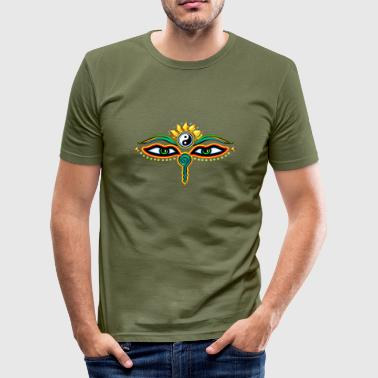 Eyes of Buddha, symbol wisdom & enlightenment,  - Men's Slim Fit T-Shirt