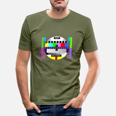 Fernsehtestbild Testbild test card status no signal screen Display - Männer Slim Fit T-Shirt